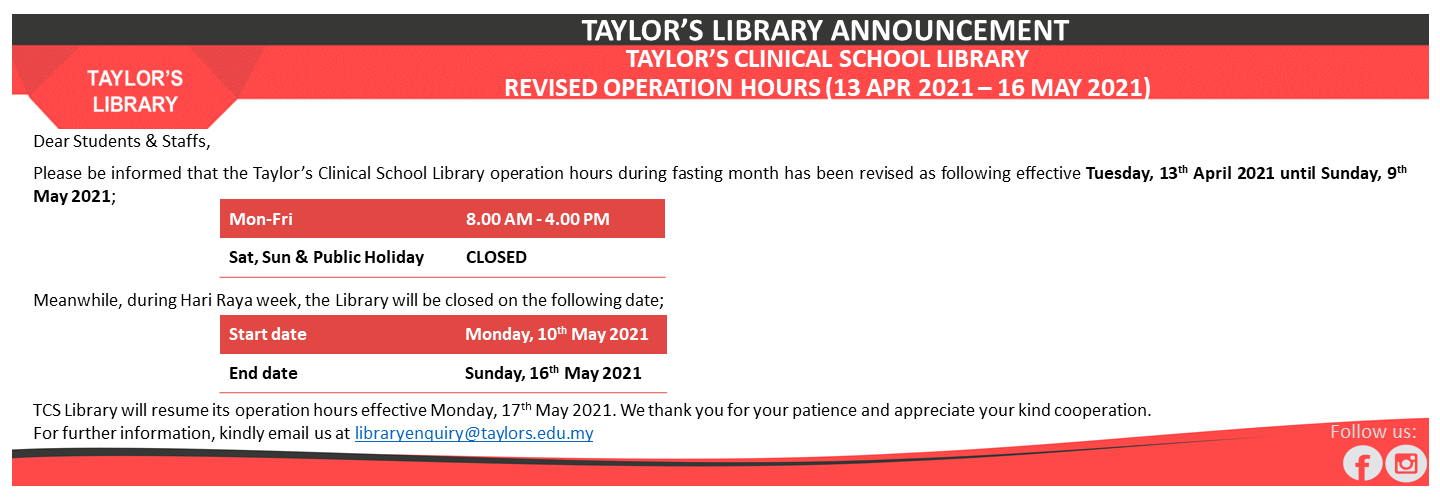 TCS Revised Operation Hours